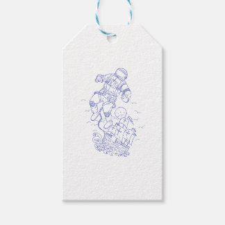 Astronaut Tethered Caravel Ship Drawing Gift Tags