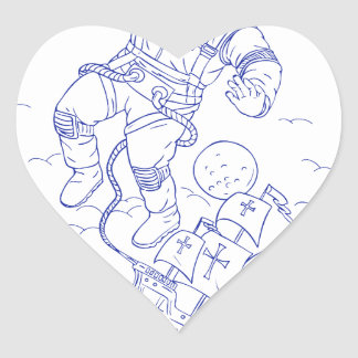 Astronaut Tethered Caravel Ship Drawing Heart Sticker