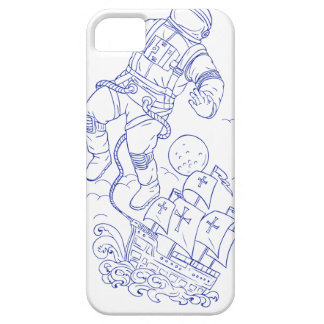 Astronaut Tethered Caravel Ship Drawing iPhone 5 Cases