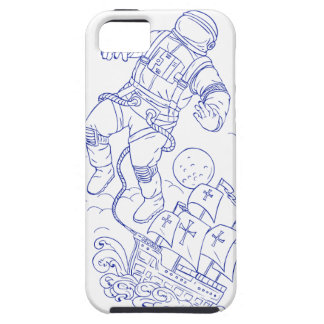 Astronaut Tethered Caravel Ship Drawing iPhone 5 Covers