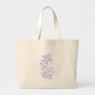 Astronaut Tethered Caravel Ship Drawing Large Tote Bag