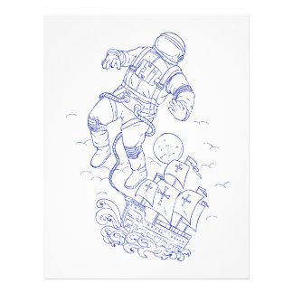 Astronaut Tethered Caravel Ship Drawing Letterhead