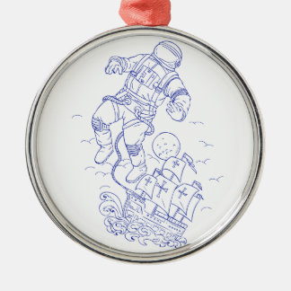 Astronaut Tethered Caravel Ship Drawing Metal Ornament