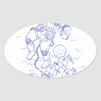 Astronaut Tethered Caravel Ship Drawing Oval Sticker