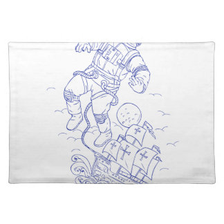 Astronaut Tethered Caravel Ship Drawing Placemat