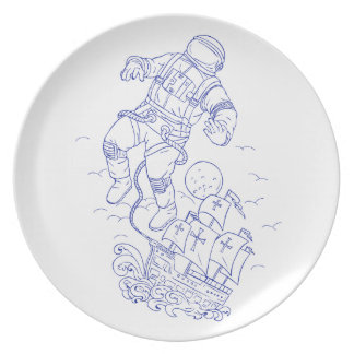 Astronaut Tethered Caravel Ship Drawing Plate