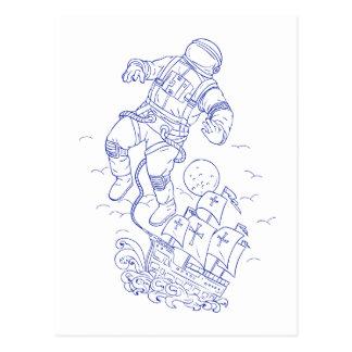 Astronaut Tethered Caravel Ship Drawing Postcard