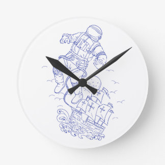 Astronaut Tethered Caravel Ship Drawing Round Clock