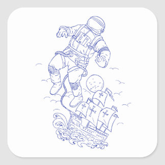 Astronaut Tethered Caravel Ship Drawing Square Sticker