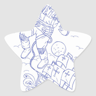 Astronaut Tethered Caravel Ship Drawing Star Sticker