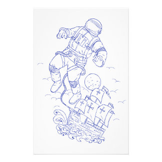Astronaut Tethered Caravel Ship Drawing Stationery