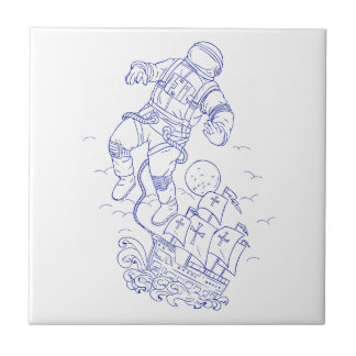 Astronaut Tethered Caravel Ship Drawing Tile