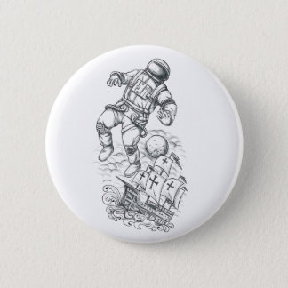 Astronaut Tethered to Caravel Tattoo 2 Inch Round Button