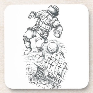 Astronaut Tethered to Caravel Tattoo Coaster