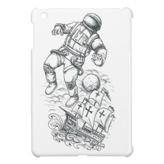 Astronaut Tethered to Caravel Tattoo iPad Mini Cases