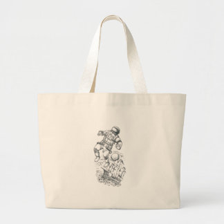 Astronaut Tethered to Caravel Tattoo Large Tote Bag