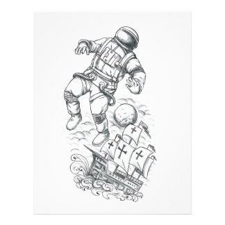 Astronaut Tethered to Caravel Tattoo Letterhead