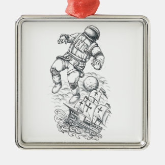 Astronaut Tethered to Caravel Tattoo Metal Ornament