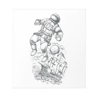 Astronaut Tethered to Caravel Tattoo Notepad