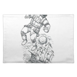 Astronaut Tethered to Caravel Tattoo Placemat
