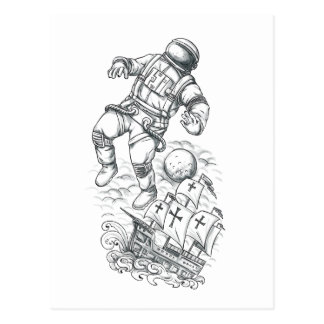 Astronaut Tethered to Caravel Tattoo Postcard
