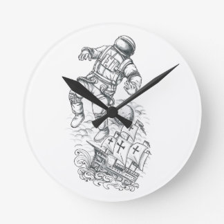 Astronaut Tethered to Caravel Tattoo Round Clock