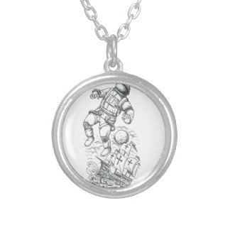 Astronaut Tethered to Caravel Tattoo Silver Plated Necklace