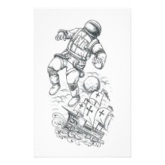 Astronaut Tethered to Caravel Tattoo Stationery