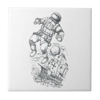 Astronaut Tethered to Caravel Tattoo Tile
