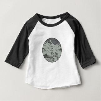 Astronaut Touching Brontosaurus Circle Mono Line Baby T-Shirt