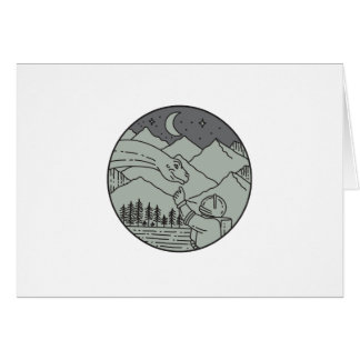 Astronaut Touching Brontosaurus Circle Mono Line Card