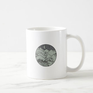 Astronaut Touching Brontosaurus Circle Mono Line Coffee Mug