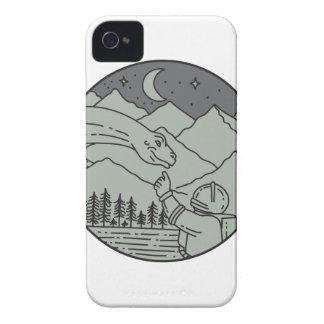 Astronaut Touching Brontosaurus Circle Mono Line iPhone 4 Case