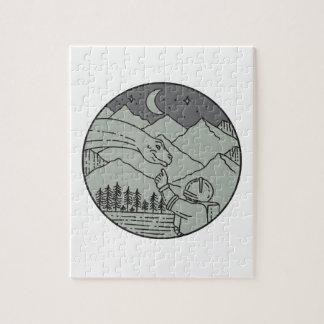 Astronaut Touching Brontosaurus Circle Mono Line Jigsaw Puzzle