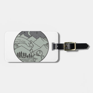 Astronaut Touching Brontosaurus Circle Mono Line Luggage Tag