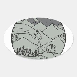 Astronaut Touching Brontosaurus Circle Mono Line Oval Sticker