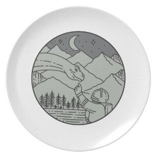Astronaut Touching Brontosaurus Circle Mono Line Plate