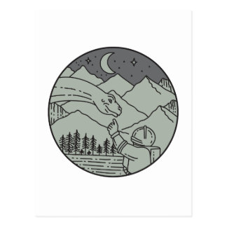 Astronaut Touching Brontosaurus Circle Mono Line Postcard