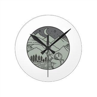 Astronaut Touching Brontosaurus Circle Mono Line Round Clock