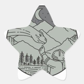Astronaut Touching Brontosaurus Circle Mono Line Star Sticker