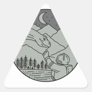 Astronaut Touching Brontosaurus Circle Mono Line Triangle Sticker