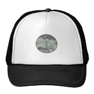 Astronaut Touching Brontosaurus Circle Mono Line Trucker Hat