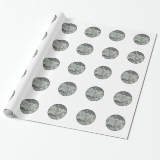 Astronaut Touching Brontosaurus Circle Mono Line Wrapping Paper