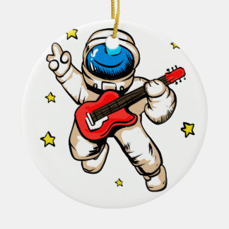 Astronaut victory gesture ceramic ornament