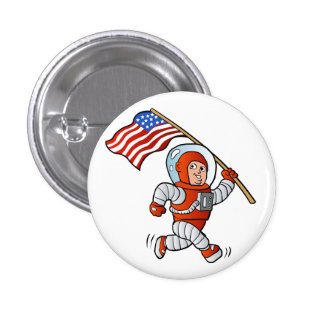 Astronaut with american flag 1 inch round button