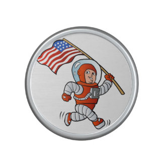 Astronaut with american flag bluetooth speaker