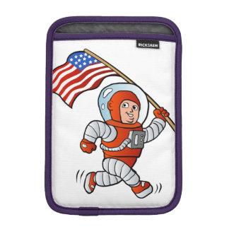 Astronaut with american flag iPad mini sleeves