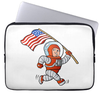 Astronaut with american flag laptop computer sleeve