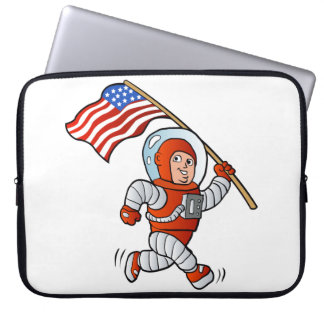 Astronaut with american flag laptop sleeves