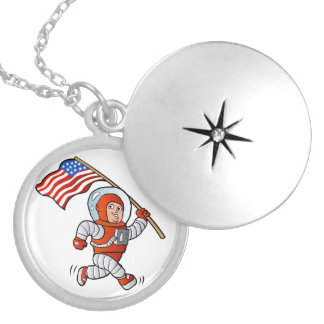 Astronaut with american flag locket necklace